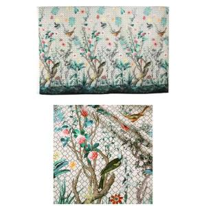 GUCCI Italian Designer Fashion Week Fabric in white Available /catwalk fabric birds and flowers ornament/available in 2 colours