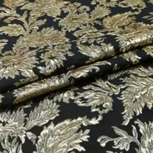 New Collection! Italian Jacquard Gold Yarn Foliage Pattern 3D fabric/Beautiful Designer Jacquard Fabric/W 145cm 310gr Rare fashion fabric