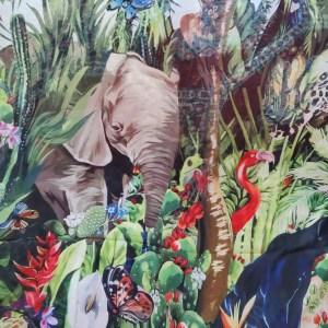 Dolce Gabbana Jungle Elephant Print Chiffon fabric/DG 2020collection fabric/Italian Designer Fabrics