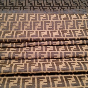 Fendi Fabric,Soft Brocade/Double Sided Fendi Quality Italian Fabric for Clothing and an accessories/Fendi Beige and Brown Logo