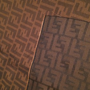 Fendi Fabric,Soft Brocade/Double Sided Fendi Quality Italian Fabric for Clothing and an accessories/Fendi Dark Brick Bas and Brown Logo