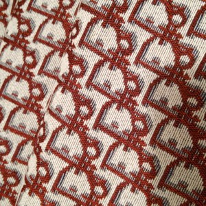 Dior Jacquard Red logo/Designer Jacquard Cotton Fabric Tapestry Dior Brocade Woven fabric/ Haute Couture Jacquard Upholstery/Fashion Jacquard Tapestry