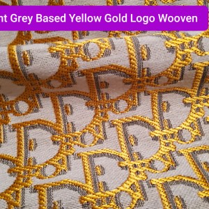 Dior Jacquard Fabric New Collection 3D/Light Grey Base with Yellow Gold wicker like Silky effect Logo/Designer Fabric Fashion week colour #3