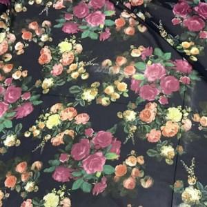 Italian Designer Chiffon with Peony and Roses print on Dark Navy Base/High quality Chiffon Fabric Italian Chiffon Floral Print