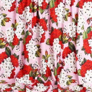 NEW COLLECTION DG2020 GERANIUM PATTERN COTTON POPLIN/AMAZING ITALIAN DESIGNER COTTON FABRIC #1 Available in silk,chiffon