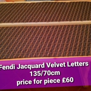 Fendi Fabric Velvet Embossed Logo sold by piece 135/70cm Jacquard Fendi fabric
