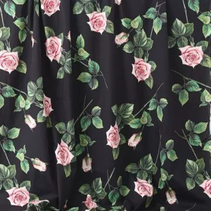 Dolce Gabbana Silk Fabric/New Collection DG roses digital print fabric/Available in Cotton and white background