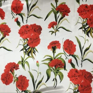 Emanuel Ungaro Silk Carnation Design Digital inkjet/New Collection Italian Couture Fabric/Fashion week designer fabric