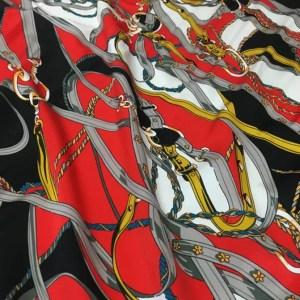 Hermes Silk fabric classic pattern /New Collection chain belt print pattern fabric/Catwalk fabric digital inkjet technique beautiful silk