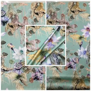 Emanuel Ungaro Silk Fabric/Stretch silk floral ornament Lilies Pattern Digital inkjet technique New Collection silk