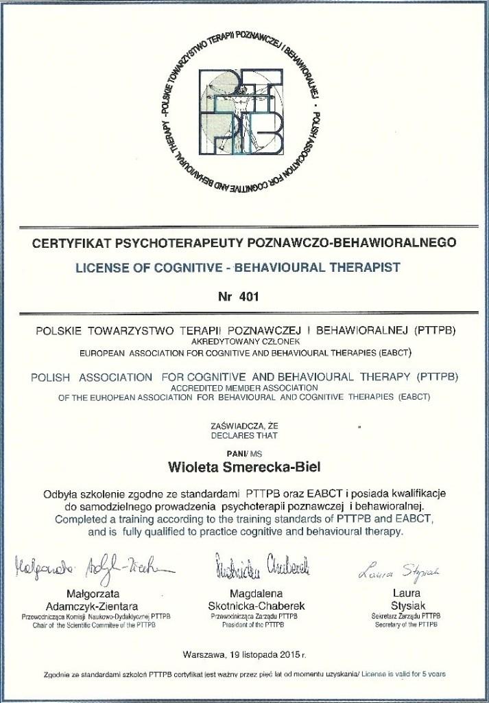 certyfikat psychoterapeuty