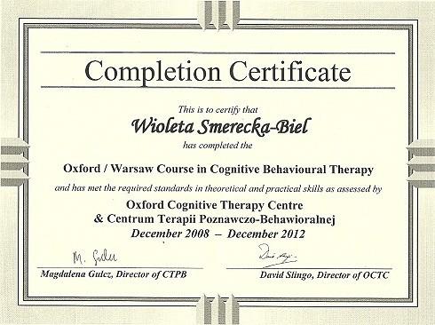 Certyfikat ukończenia szkolenia podyplomowego terapeuty poznawczo-behawioralnego