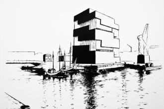 Graphic Eilandje monochrome oil painting on canvas of the MAS Antwerpen