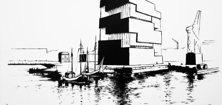 Graphic Eilandje monochrome oil painting on canvas of the MAS Antwerpen