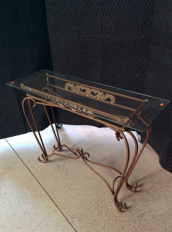 GLASS AND METAL SOFA TABLE