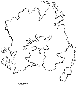 Scanned image of a pen and pencil continent outline