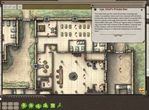 Fantasy Grounds screen shot of the Steading map and adventure text