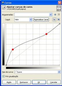 Janela de ajuste da curva de brilho da imagem no Gimp