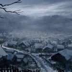 Imagem do podcast TESTE 1 do RPG Next - Vila medieval coberta com neve nos telhados no fim do dia