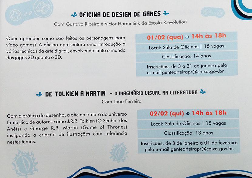 Oficina de Design de Games e De Tolkien a Martin