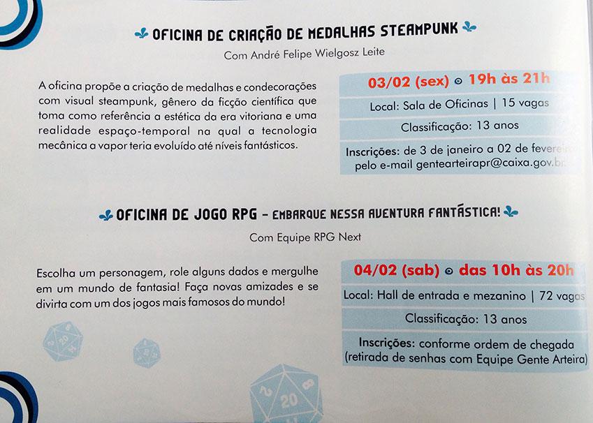 Oficina de criação de medalhas steampunk e Oficina de jogo de RPG