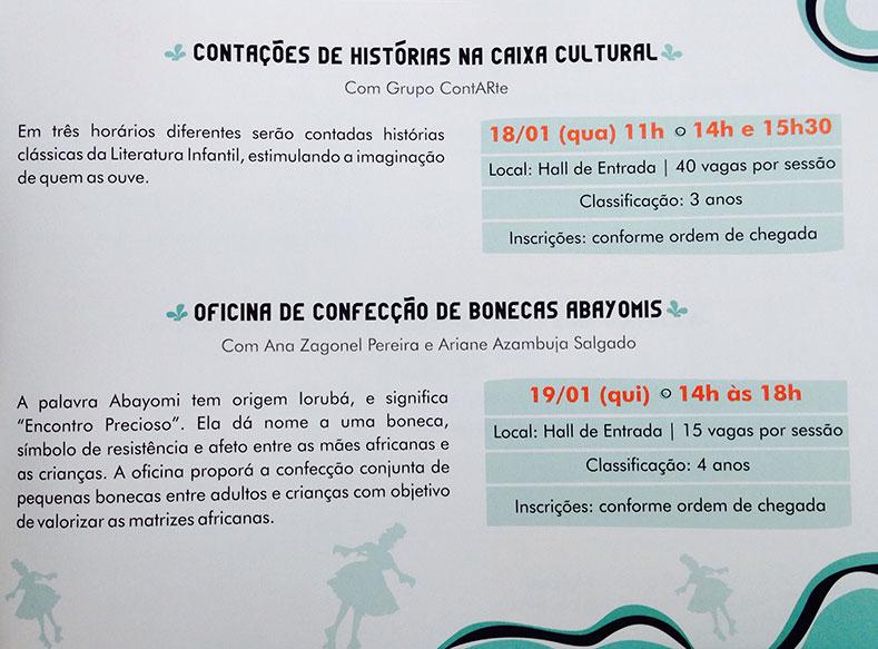 Contações de Histórias na Caixa Cultura e Oficina de Confecção de bonecas Abayomis