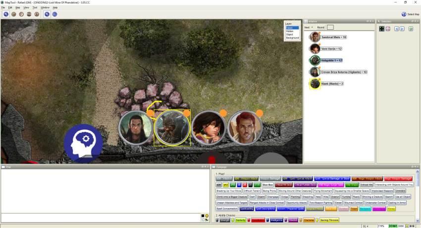 Imagem do Maptool - Equipe Rolling Stones entrando no Castelo do Rei Grol