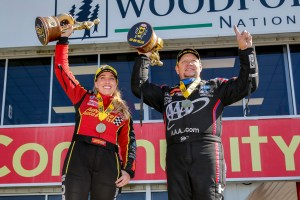 Top Fuel Dragster pilot Brittany Force and Funny Car pilot Robert Hight at the 32nd annual Mopar Express Lane NHRA SpringNationals in the Winners Circle