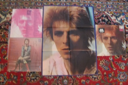 """Original poster that came enclosed with early reissue copies of """"Space Oddity"""" (originally released in 1969), plus inner record jacket with lyrics and front and back cover"""