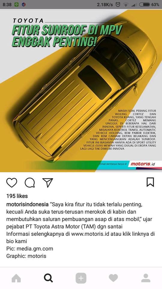 Toyota : Tidak Penting Sunroof di MPV