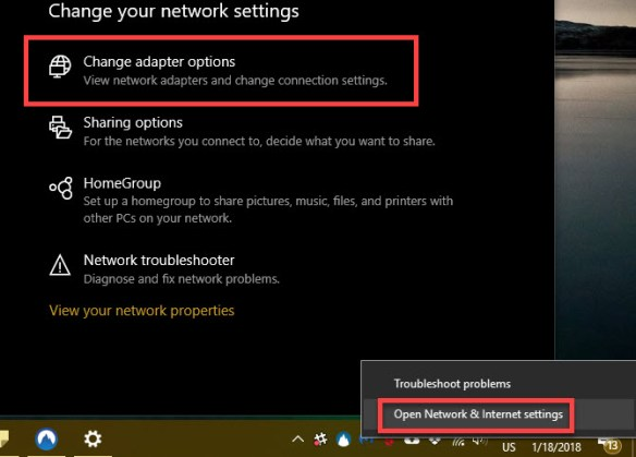Windows 10 Network and sharing center