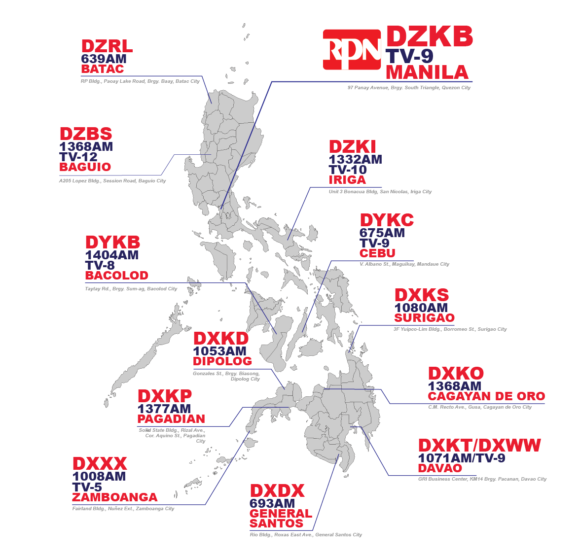 map of philippines with rpn stations