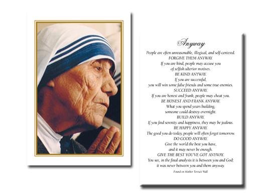 Holy Cards Saint Teresa Of Calcutta Holy Card With