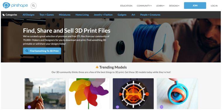 Website for 3D Printable Models Pinshape
