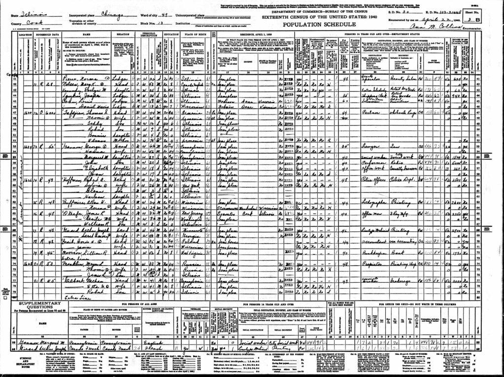 Example 1940 Census 1620 W Lunt