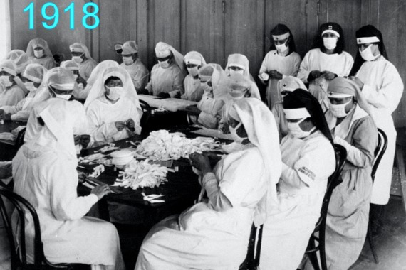 Photo showing women making masks during 1918 flu pandemic