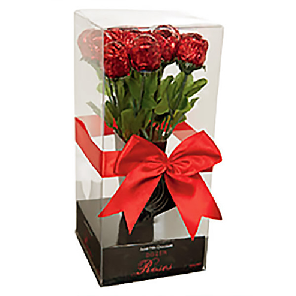 Milk Chocolate Hollow Dozen Roses Gift Pack