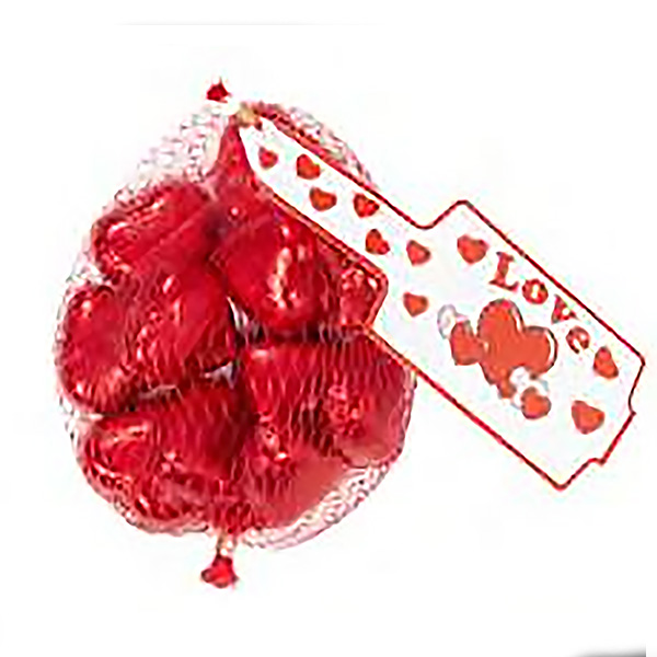 Red Milk Chocolate Hearts In Mesh Bags