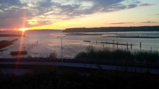 The mouth of the Snohomish River from Legion Park at sunset.