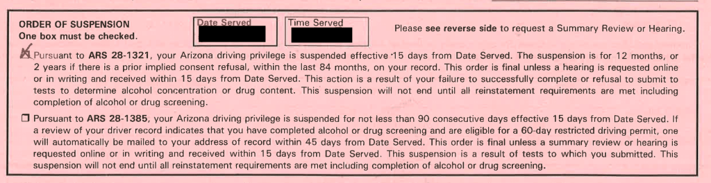 Scottsdale Admin Per Se Order of Suspension, 12 month suspension box checked