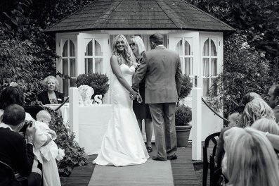 Bride and groom at the wedding ceremony at the Yenton Hotel