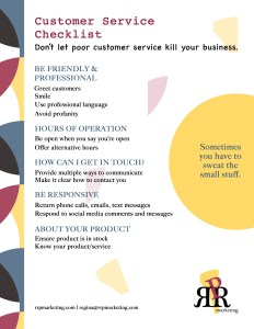 Customer service checklist by RRP Marketing