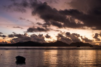 sunset on La Digue, looking at Praslin island