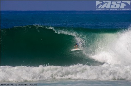 Kieren Perrow earned a perfect 10 after emerging from this barrel and doing a huge floater.