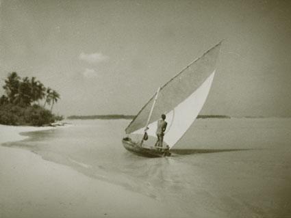 Tony sailing his dhoni.