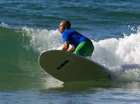 Dane Wilson, winner of the Backbeach Noosa Stand Up Paddle Pro. Photo: Steve Robertson/Surfing Australia