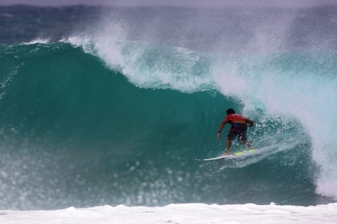 Joel Parkinson (AUS), 27, has won the Quiksilver Pro Gold Coast, defeating fellow finalist Adriano de Souza (BRA), 22, in solid six-to-eight foot (3 metre) surf at Kirra.