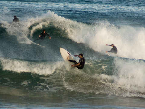 Often multiple riders on every wave in a set.