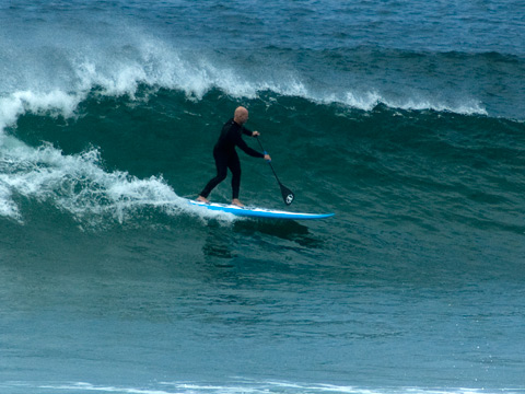 Driving down the line SUP style at Manly around midday.