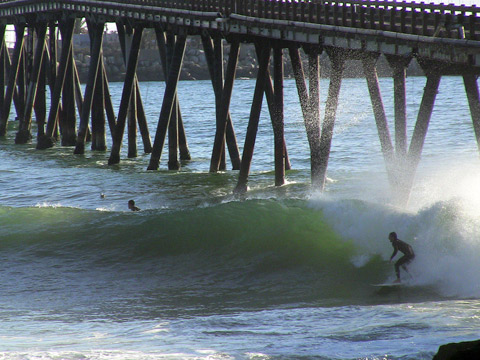 You can shoot the pier to get into this section at La Conchita.